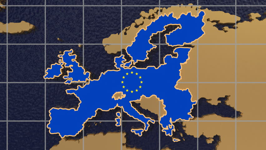 HD digital animation starts with zoom out from European Union map textured with flag to folding globe spinning