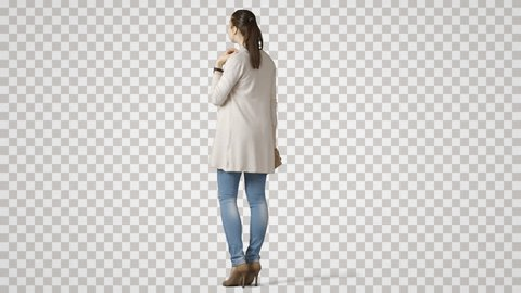 Young pretty girl stands back side, waits. Footage with transparent background. File format - mov. Codec - PNG+Alpha. Combine these footage with your background or other people