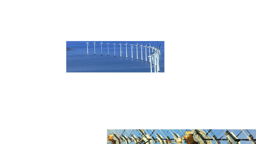 Montage collection of wind turbines & solar panels producing clean sustainable energy during the day & sunset