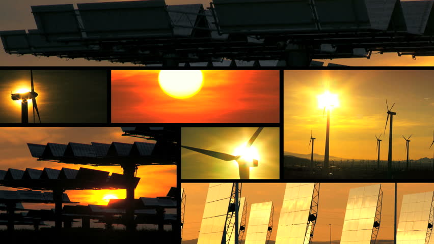 Montage sunset collection of wind turbines & solar panels producing clean  sustainable energy