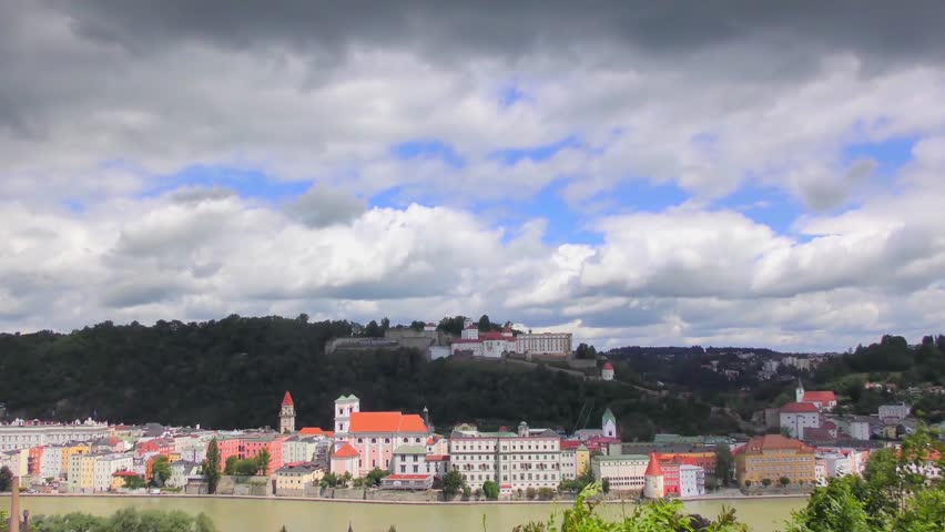 """4K time-lapse footage of Passau, Germany, from the South. Passau is also known as the """"City of Three Rivers,"""" because the Danube is joined here by the Inn and the Ilz."""