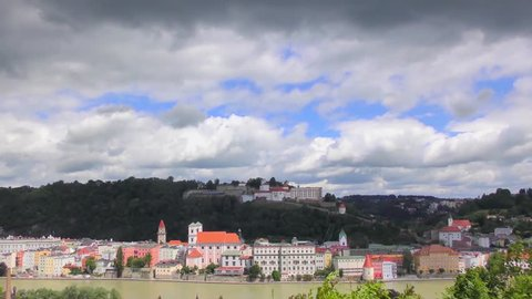 "4K time-lapse footage of Passau, Germany, from the South. Passau is also known as the ""City of Three Rivers,"" because the Danube is joined here by the Inn and the Ilz."