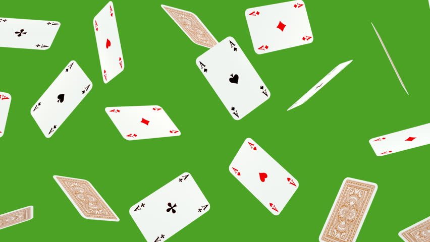 Playing card is falling on green screen background