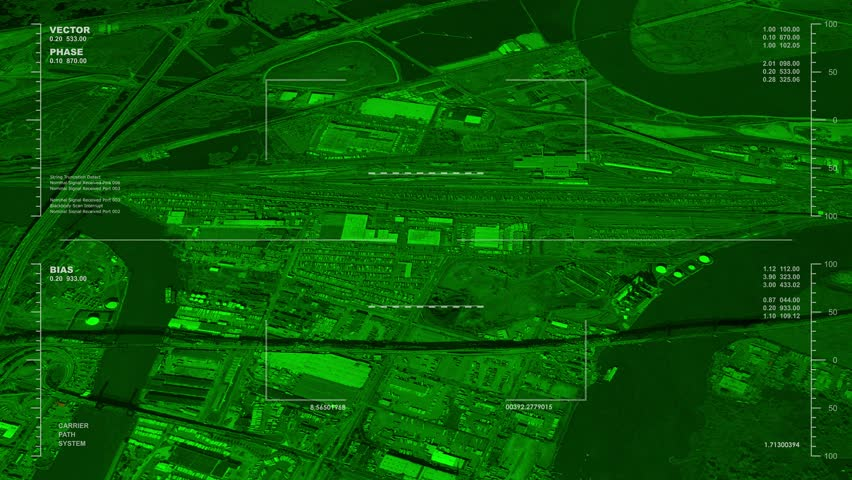 Night Vision Aerial Surveillance Drone UAV Flyover Of An Urban Rail Yard Reversible Seamless Loop Available In DCI 2K 4K By Request