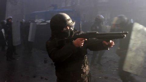 KIEV, UKRAINE MARCH 16, 2014: Maidan. Police Shooting. Kiev