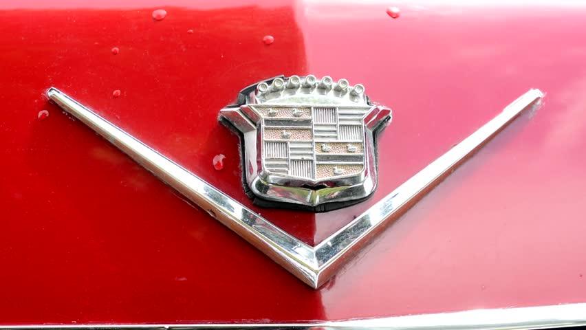 cadillac logo 2015. prague czech republic june 20 2015 old vintage american car detail cadillac logo