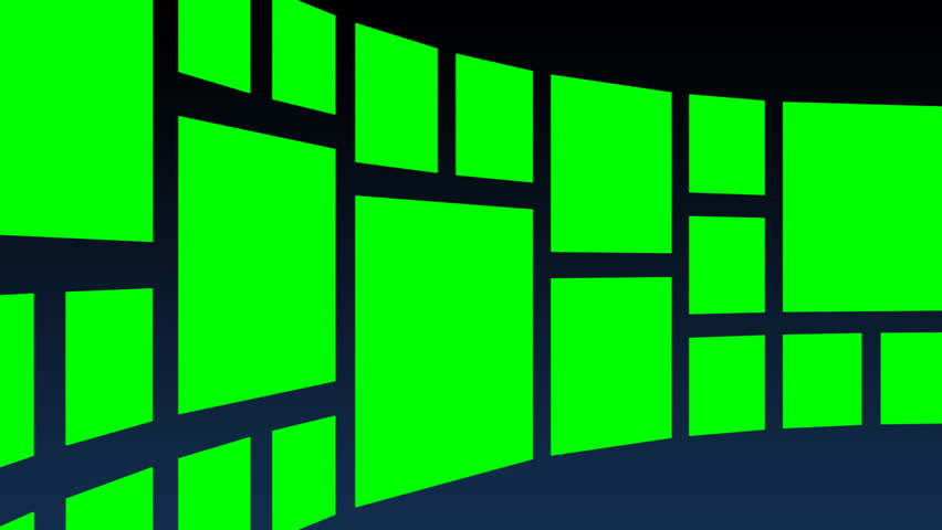 Abstract green square panels rotating cylindrically against a dark background, final zoom-in for custom content placement