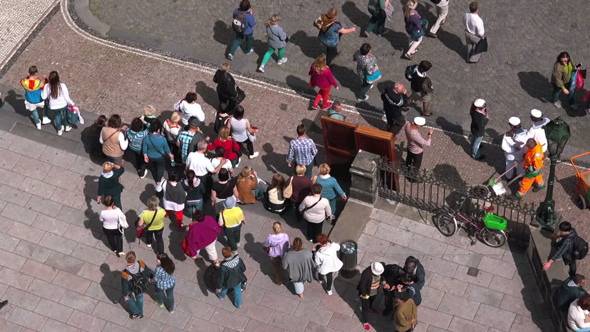 PRAGUE, CZECH REPUBLIC - MAY 24, 2015: Prague Tourists Walking in Groups, Aerial View, Crowd Behavior | Shutterstock HD Video #10648523