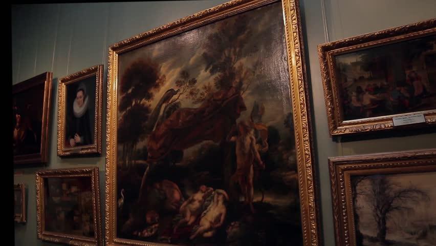 21/05/2015  Kiev, Ukraine. Museum of Art. Exhibition of famous paintings. Art Gallery.