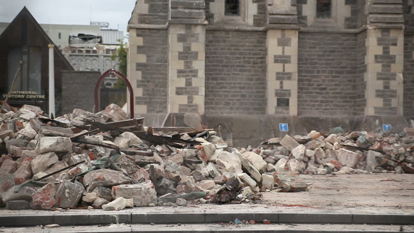 CHRISTCHURCH, NEW ZEALAND - FEB 26: Rubble from the spire which fell from the Christchurch Cathedral on Feb 26th 2011. Damage was caused by the Christchurch earthquake on Feb 22.