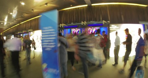 LOS ANGELES - June 17, 2015: Hyperlapse walk through E3 2015 expo show floor in LA Convention Center. Electronic Entertainment Expo E3 is an annual trade fair for video game industry. Timelapse view.