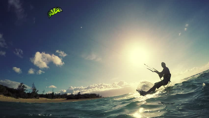 Extreme Sport Kite Surfing Concept in Slow Motion HD.