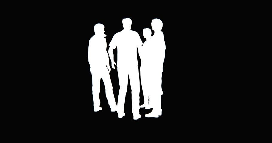 4k Business people silhouette talking. cg_02752_4k
