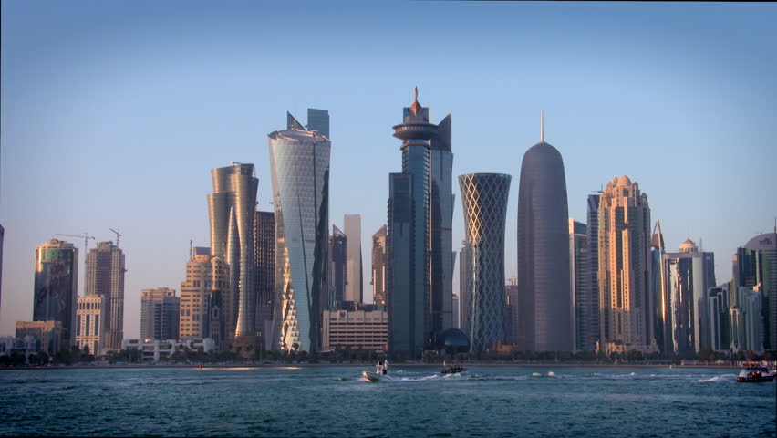 Doha Qatar skyline in late afternoon sunshine | Shutterstock HD Video #10727591