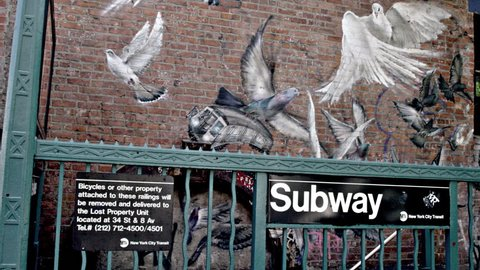NEW YORK - JULY 3, 2015: subway station with birds and Biggie Smalls mural in 4K, Brooklyn, NY. Notorious B.I.G. was a famous rapper from Bed-Stuy, BK, NYC.