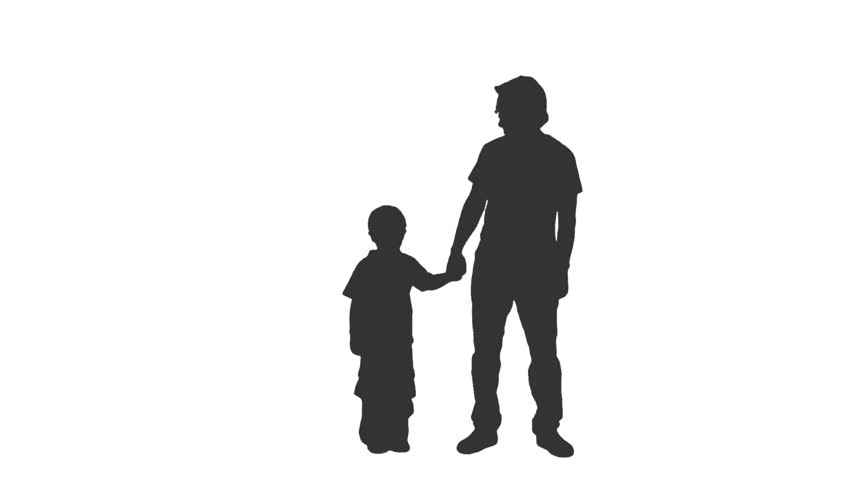 Silhouette of a little boy in a baseball cap standing with his father. Front view. Full HD footage with alpha channel | Shutterstock HD Video #10735685