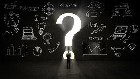 businessman Standing in front of a question mark, Business plan and various graph in black wall concept.