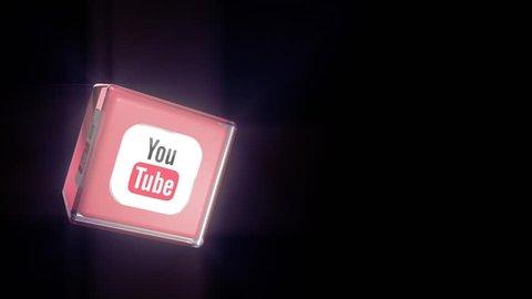 Editorial Animation: 3D Rotating Youtube logo cube