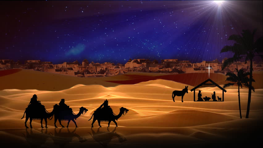 Wise men following the star magi on camels traveling to