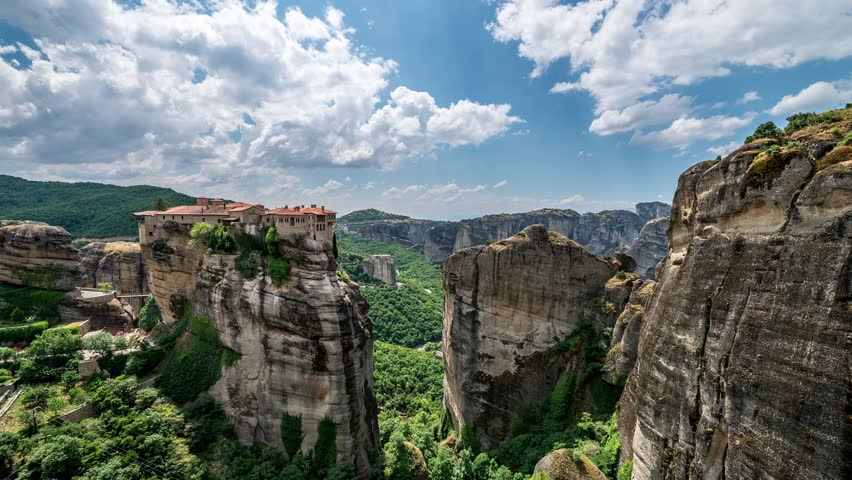 The UNESCO World Heritage listed greek-orthodox monasteries of Varlaam and Roussanou located atop sandstone rock pillars in Meteora, Greece