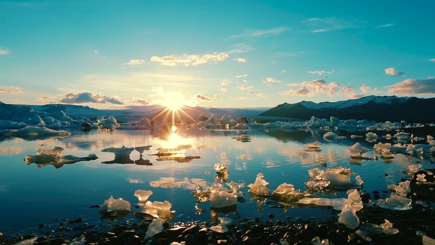 Global Warming Climate Change Concept. Icebergs in Jokulsarlon Glacier Lagoon
