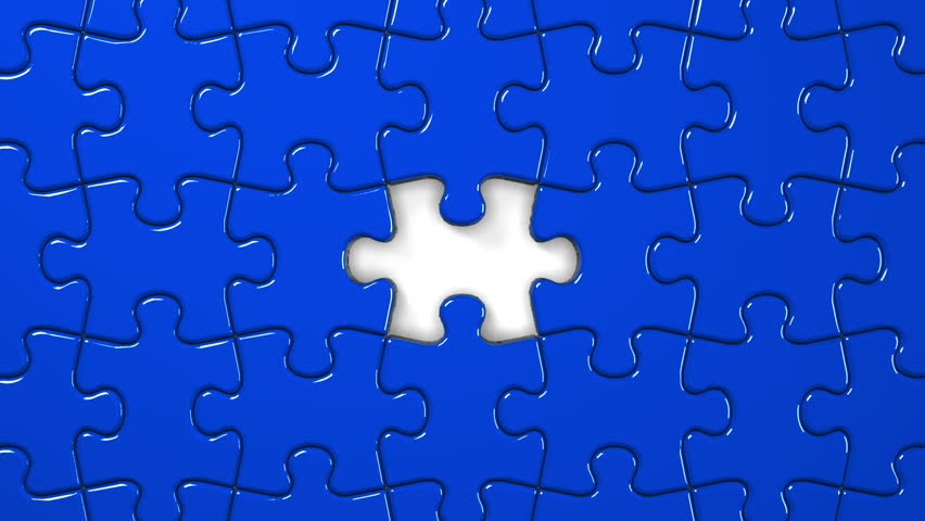 Blue Jigsaw Puzzle. Stock Footage Video (100% Royalty-free