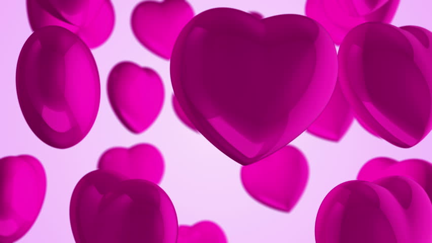 Animation flying of red glossy hearts. Abstract lovely background for Valentine's Day or movie about love and married. Animation of seamless loop. | Shutterstock HD Video #10865405