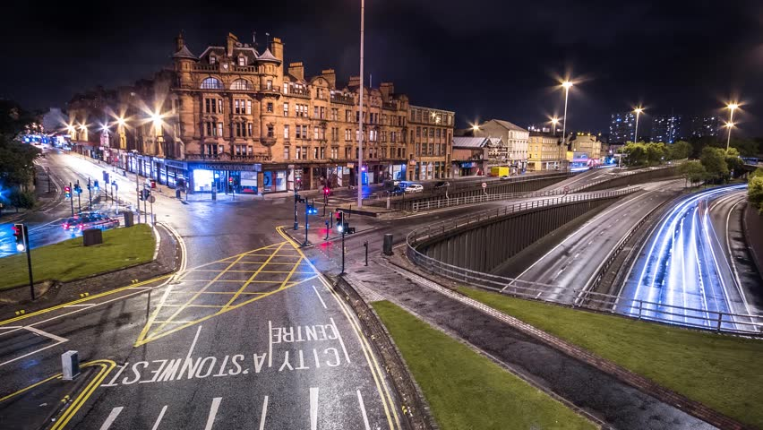 4K views of Glasgow at night, Charing Cross, Motorway, Scotland.