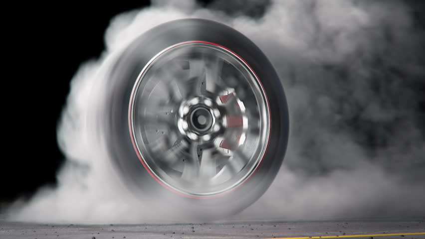 extreme tire Burnout on asphalt, lots of smoke & heat :) seamless loop, rendered with extreme level of details for fullHD