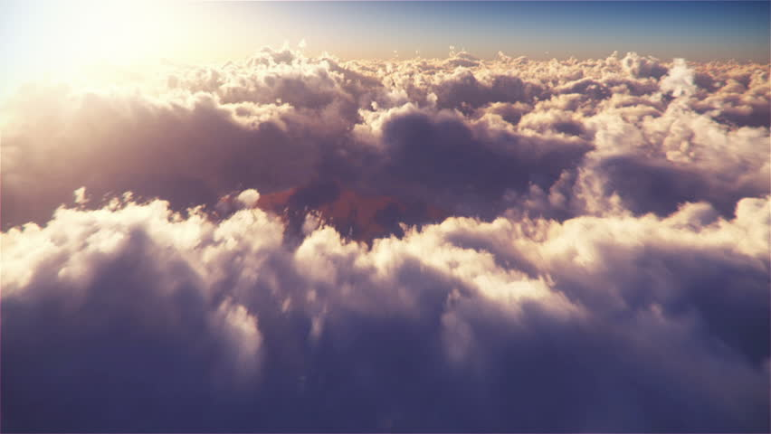 Flying On Clouds at Sunset  high detailed 3D render, LOOP