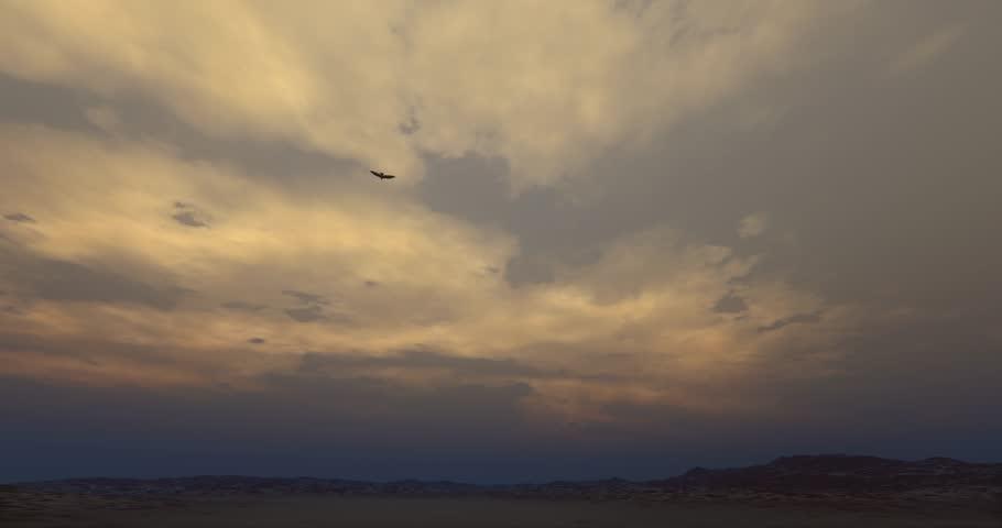 4k Eagle hovering in the wilderness at dusk. cg_02840_4k