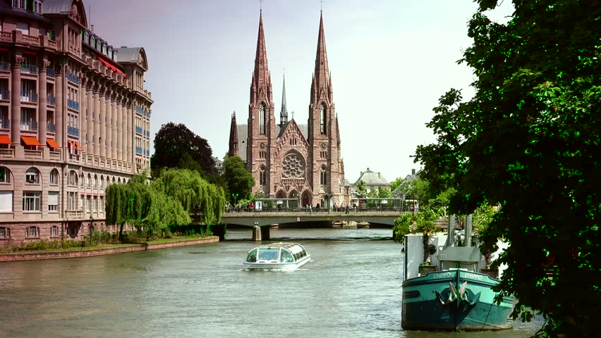 View on the St. Paul Church from the Ill river in Strasbourg, Alsace, France, ultra hd 4k, real time