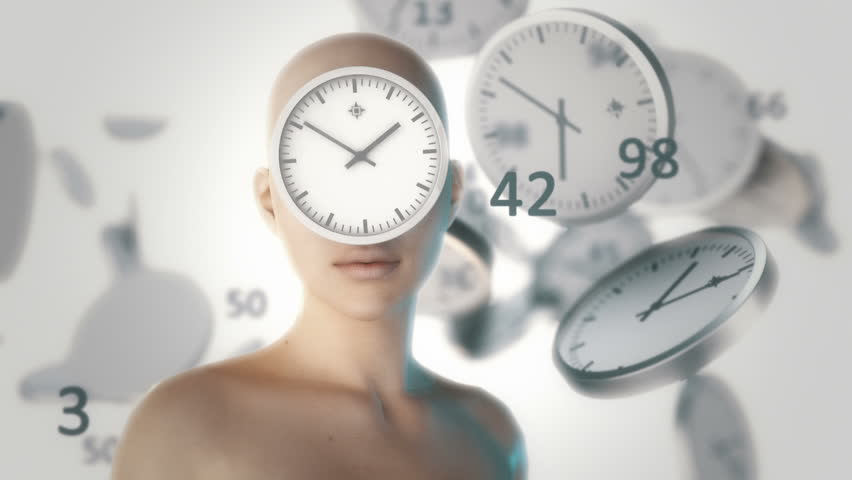 Girl with flying around the clock and digits. Time. / Computer-generated imagery. Computer animation. Computer character. | Shutterstock HD Video #10981565