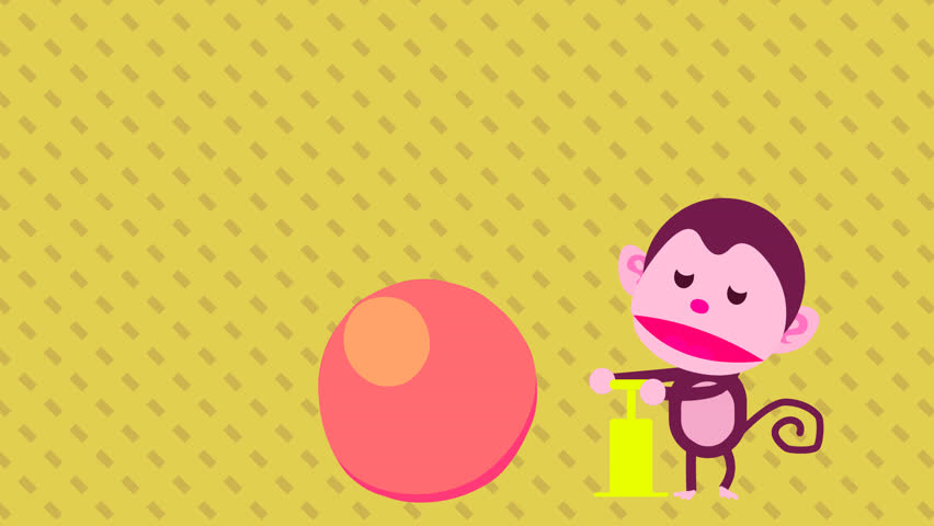 4K funny cartoon animation footage video clip of a cute baby monkey playing air pump inflator tool, blowing up balloons. Super size bubble pop game. Abstract pattern geometric diamond shape background
