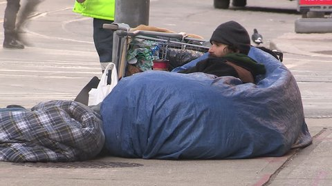Toronto, Ontario, Canada January 2015 Desperate homeless people living on the streets of Toronto.
