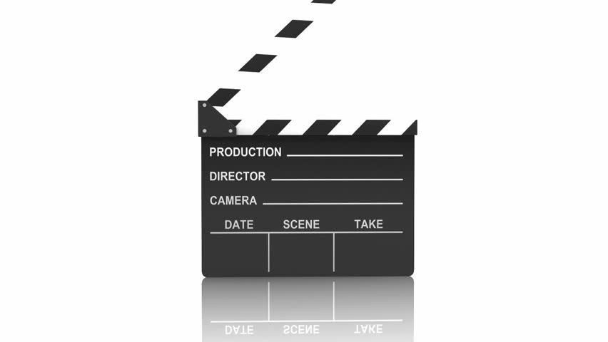 Action. Clapping clapper over white. Alpha channel is included