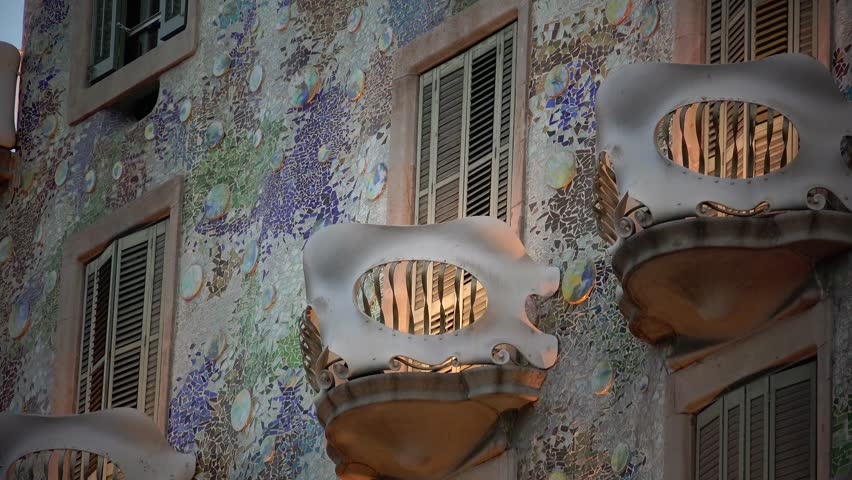 BARCELONA, SPAIN - JUNE 29, 2015: Outdoor view Gaudi's creation-house Casa Batlo. The building that is now Casa Batllo was built in 1877 by Antoni Gaudi. JUNE 29, 2015 in Barcelona, Spain. ULTRA HD 4K