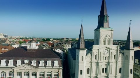 CIRCA NEW ORLEANS, LOUISIANA JULY 2015: aerial view from Cabildo to Saint Louis Cathedral New Orleans