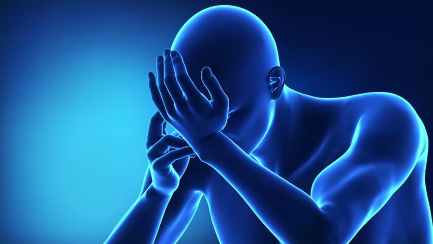 Human mail with backache / headache