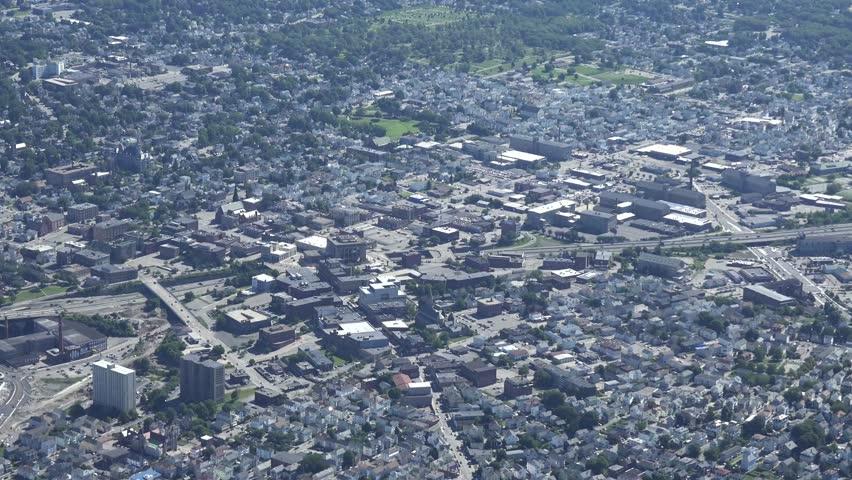 Fall River, Ma 4k aerial, close view.
