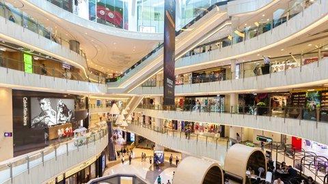 Hong Kong, China - Jun 22, 2015: 4k hyperlapse video of people shopping in a shopping mall in Hong Kong