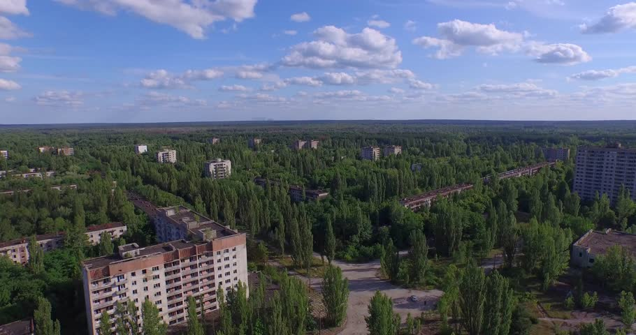 The Abandoned City of Pripyat near Chernobyl (Aerial, 4K). Once a beautiful town by Soviet standards, its 50,000 inhabitants were evacuated 36 hours after the accident.