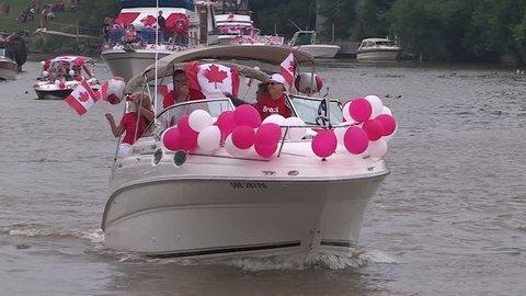 Port Dover, Ontario, Canada July  2014 Canada day boat parade in Port Dover