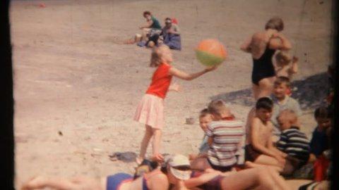 Scheveningen Netherlands July 10 Girl Plays With A Ball On July 10