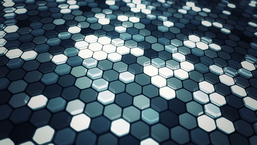 Blue Gray Color glowing hexagonal tiles. abstract moving background of glowing