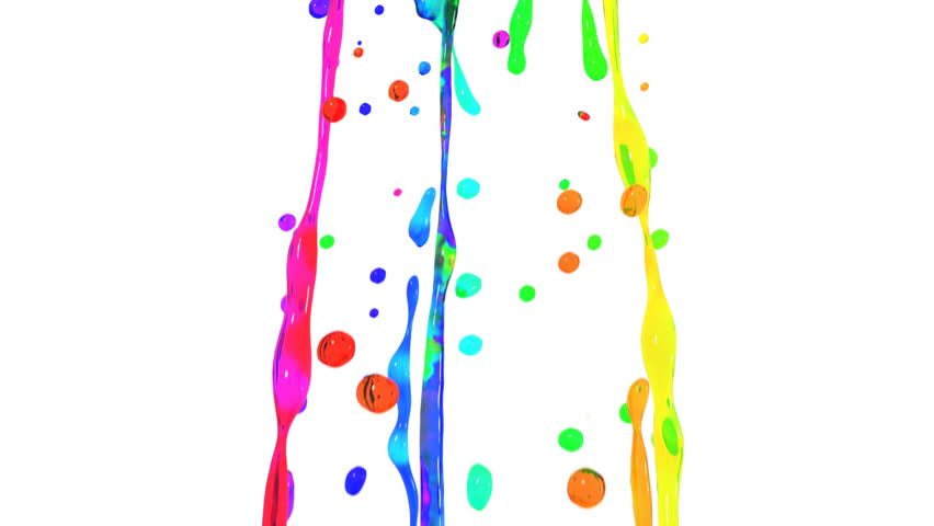 Colored paint splashes in slow motion. HD 1080.