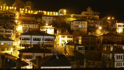 Night Timelapse, Traditional Ottoman Anatolian Village, Safranbolu, Turkey