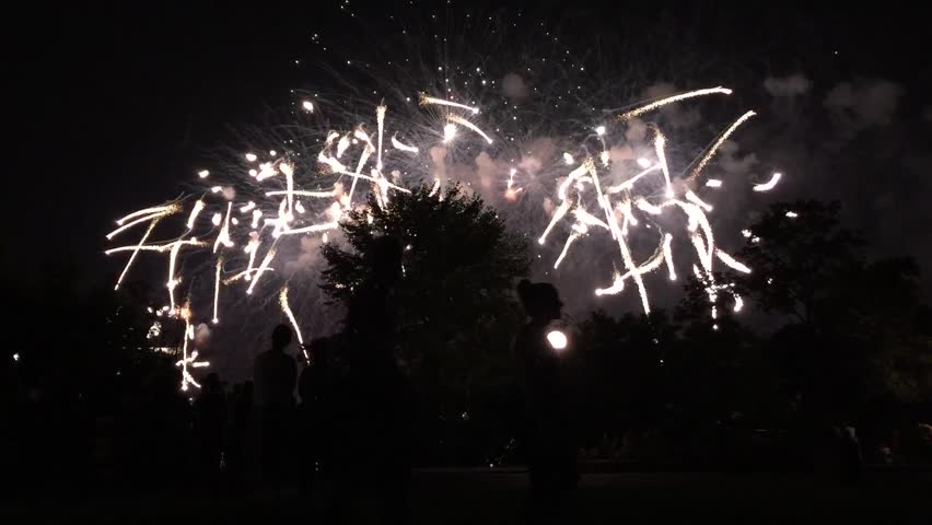 Silhouettes of people standing in front of fireworks on fourth of July in America  | Shutterstock HD Video #11324465