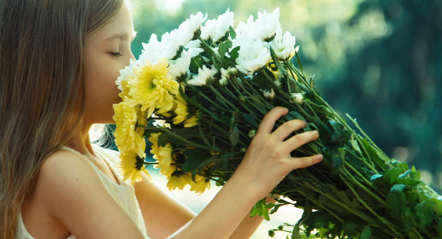 Portrait girl sniffing flowers. Child is in wite dress standing in the park and holding bouquet of white and yellow flowers and smiling at camera #11326685