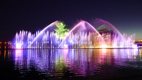 VINNITSA, UKRAINE - AUGUST 18, 2015 : Musical dancing floating fountain . Largest Floating musical fountain in Ukraine and Europe. Show with visual effects ,gala celebration , colorful lights.